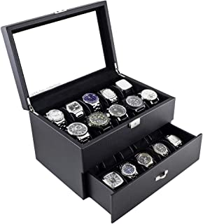 Carbon Fiber Pattern Glass Top Watch Case Display Storage Box Chest Holds 20 Watches with High Depth for Larger Watches