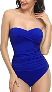 Hilor Women's Bandeau One Piece Swimsuits Front Twist Swimwear Ruched Bathing Suits Tummy Control