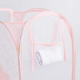 MJY Paniers à linge, poignée pliable à vague horizontale rose, lavage, vêtements sales, grand panier, boîte de rangement d...