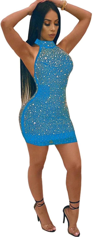 NC Women's Long Sleeve Lace Up Mesh See-Through Rhinestone Bodycon Sexy Drilling Mini Club Dress