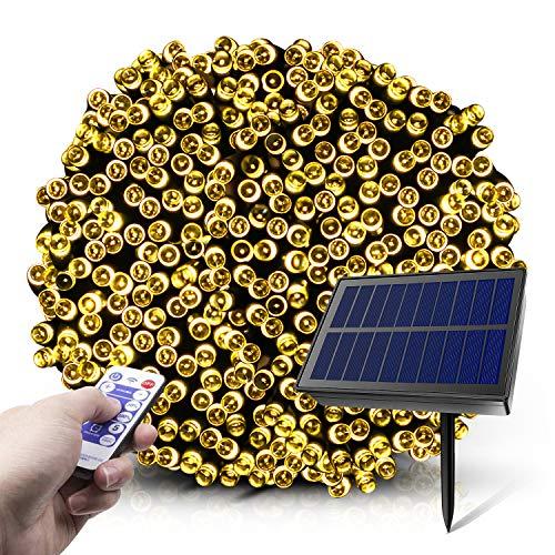 Guirnalda Luces Exterior Solares,2020 20m 200 LED 8 modos Luces de Cadena Solares con Control Remoto,Luces de Hadas Estrelladas a Prueba de Agua para Exteriores,Jardines,Navideñas (Blanco Cálido)