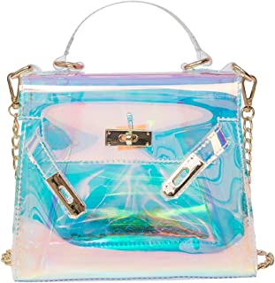 OULII Ladies Transparent Retro Holographic Handbag Shoulder Bag Shining Cross Body Bag with Chains