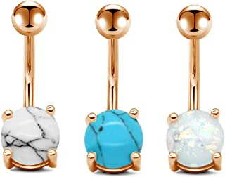 Senxido 3 PCS 14G 316L Stainless Steel Belly Button Rings Set Women Navel Rings Graceful Synthetic Opal Marble Stone Barbe...