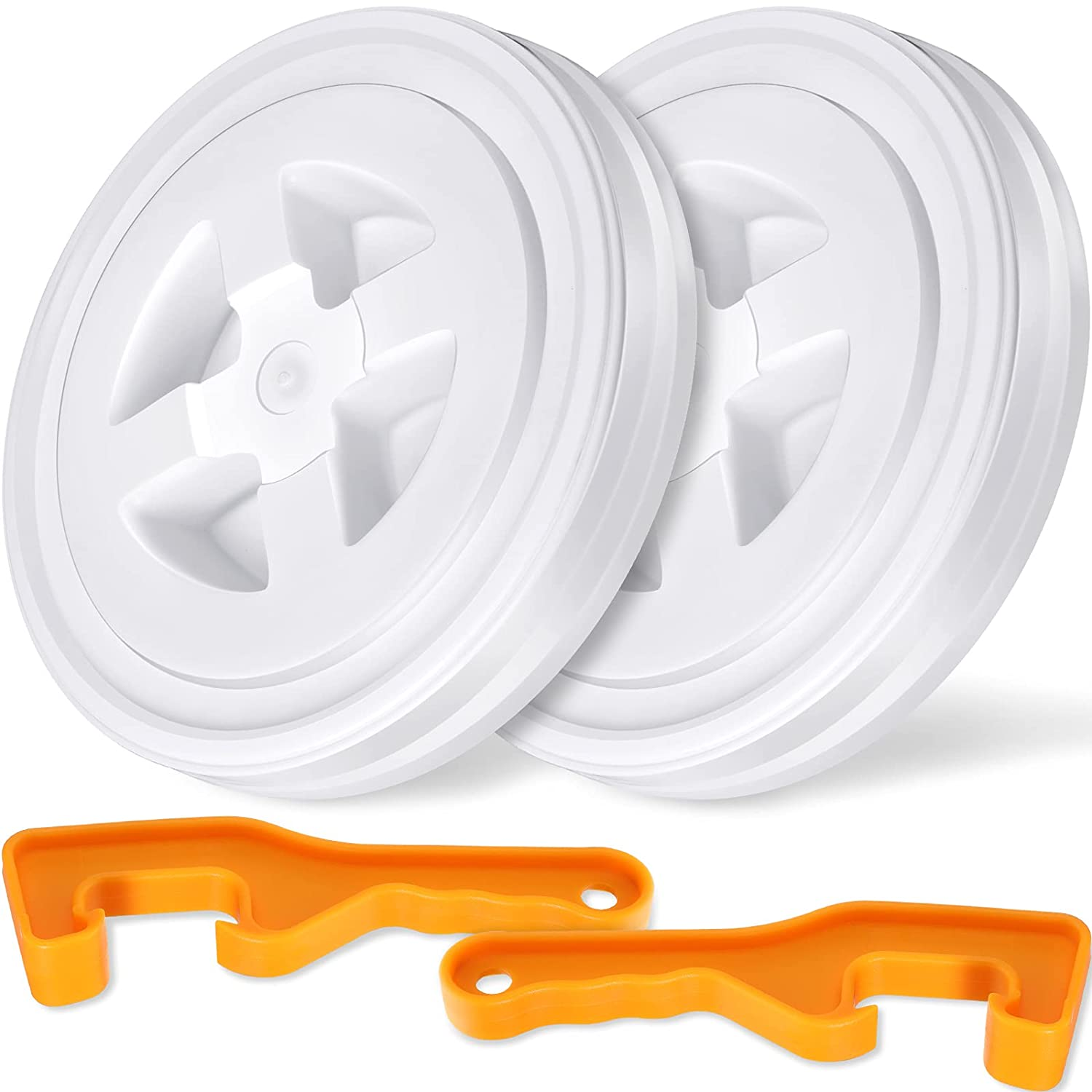 2 Pieces 5 Gallon Screw Cap Leak-Proof Bucket Seal Lids and 2 Pieces 5 Gallon Paint Can Openers for Plastic Storage Buckets, White and Orange