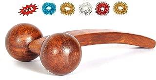 Accupressure High Quality Wooden Massager, Handheld Body Calf Massager, Acupressure Wooden Roller Massager + Sujok Ring 5 Pc