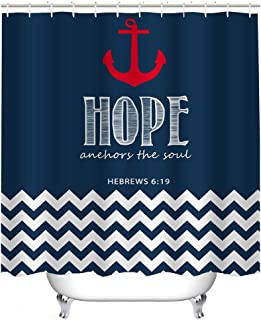 Cheerhunting Nautical Anchor Shower Curtain, Red Anchor with Bible Line, Shower Curtain with Hooks, 72W x 72H Waterproof Fabric Bathroom Decor, Navy Red