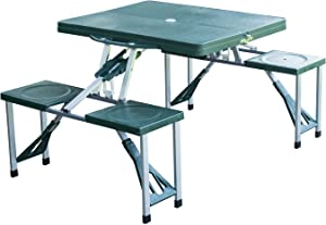 """FDInspiration Green 33.5"""" L Portable Aluminum Folding Camping Picnic Table Case Outdoor Bench w/ 4 Plastic Seats with Ebook"""