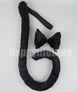 Happylifehere Long Fur Cat Ears and Cat Tail Set Halloween Party Kitty Cosplay Costume Kits (Black)