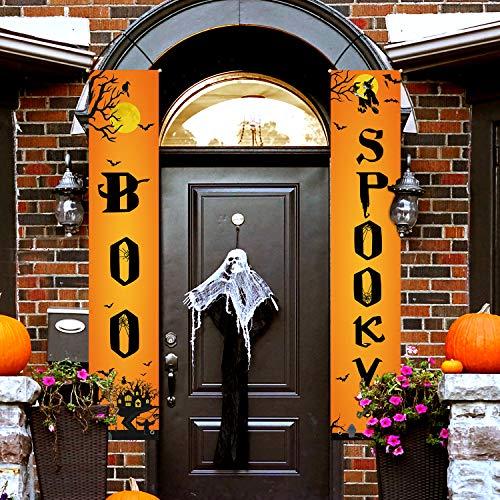 Whaline Pocus Schild Banner für Innen- und Außenbereich, dekoratives Hängeschild für Zuhause, Büro, Haustür, Veranda, Willkommen Dekoration Halloween-orange