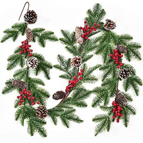 YQing 183cm Guirnalda de Navidad Artificial Aguja de Pino Nevado con Conos de Pino Bayas Rojas Navidad Decoración de Puerta Guirnalda de Bayas Rojas para Chimenea Vacaciones Año Nuevo 🔥
