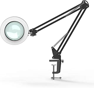 YOUKOYI LED Magnifying Lamp Metal Swing Arm Magnifier Lamp - Stepless Dimming, 3 Color Modes, 5X Magnification, 4.1