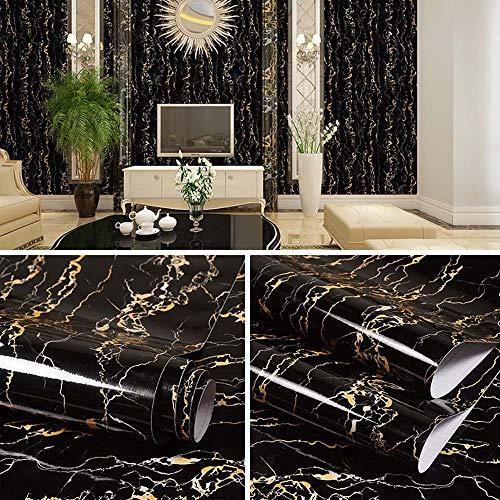 Wandfolie selbstklebend abwaschbar60 cm x 5 m selbstklebende PVC-Aufkleber mit Marmormuster, Hintergr&tapete für Wohn- & Schlafzimmer, Anti-Öl-Aufkleber mit Dunstabzugshaube für die Küche-10