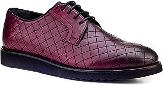 Cabani Bağcıklı Nakışlı Günlük Erkek Ayakkabı Bordo Deri