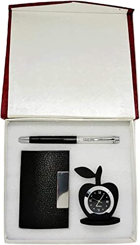 Aqeeq Crownlit 3 in 1 Set with Apple Clock, Crystal Pen, Business Card Holder, Magnetic Leather Jewellery Box (Black)