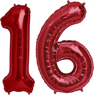 Tellpet Red Number 16 Balloon, 40 Inch