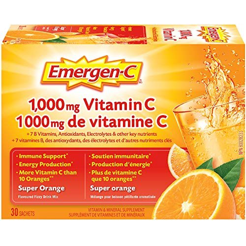 Emergen-C, Vitamin C 1,000mg Powder with Vitamin B Complex and Electrolytes, Immune System Booster, Super Orange, 30 Packets