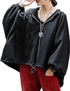 Women Casual Loose Plus Size Hoodie Jackets Bat-Wing Sleeve Sweatshirts High-Low Hem/Pockets KB5