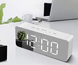 Wazdorf Digital Mirror Alarm Clock, Mirror Alarm Clock for Heavy Sleepers Kids Large Mirror Display with Snooze Time Temperature Function for Bedroom, Office, Travel - Battery Powered & USB Powered(Mirror Clock)
