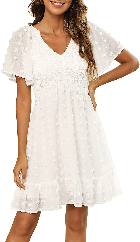 Zattcas Women Smocked Flutter Sleeve V Neck Ruffle Mini Swiss Dot Babydoll Dress