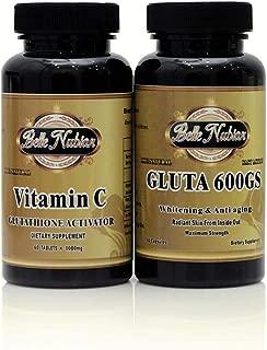 Gluta 600GS Whitening and Anti Aging Pills + Vitamin C Glutathione Activator (1000mg)