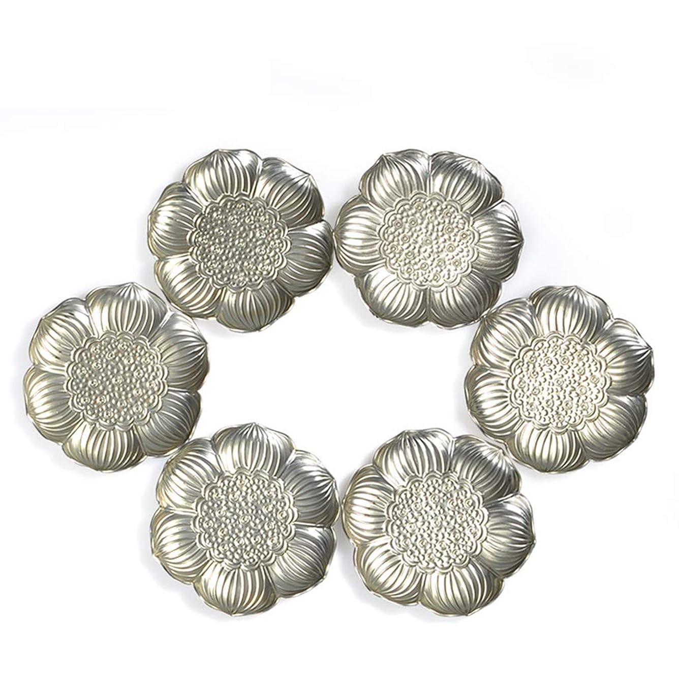 カプセル説得力のある手書きWJGRB 6枚の花弁のハス形コースター、亜鉛合金断熱パッド、テーブルマット、6コースターセット デスクトップ絶縁パッド (Color : Silver)