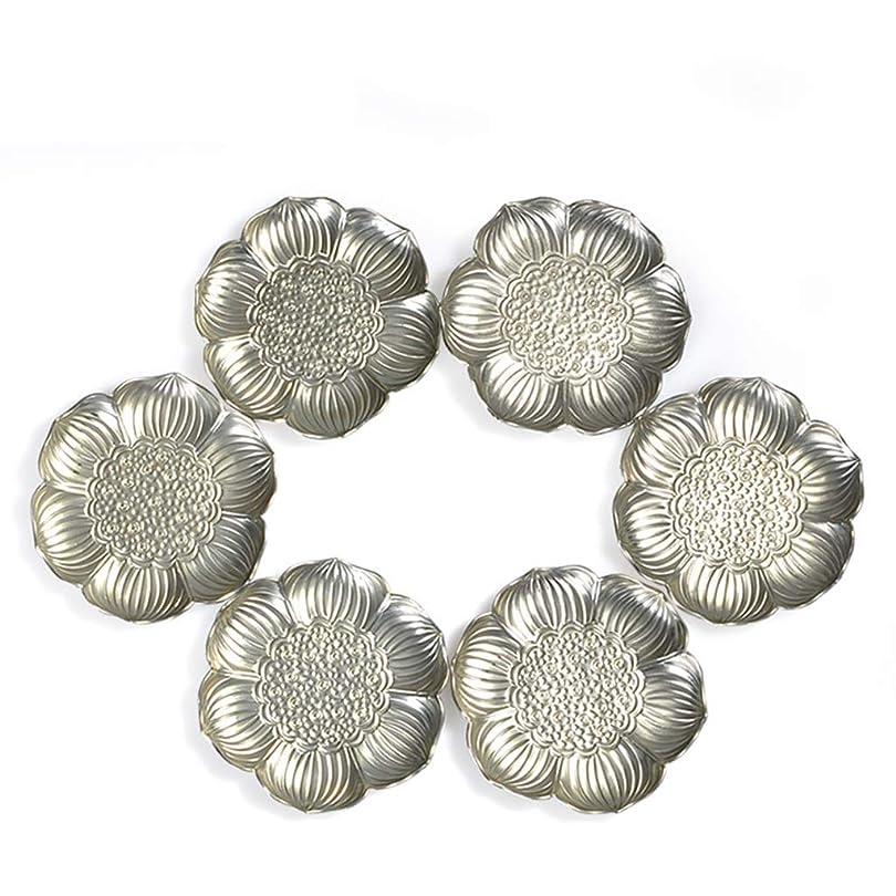 浮く一般的な受粉者WJGRB 6枚の花弁のハス形コースター、亜鉛合金断熱パッド、テーブルマット、6コースターセット デスクトップ絶縁パッド (Color : Silver)