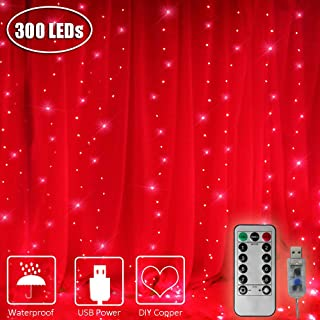 ASmile 300 LED Window Curtain Lights, USB Power Icicle Fairy Lights with Remote Timer Waterproof Indoor String Light for Home, Bedroom, Garden, Wall Decoration-9.8ft x 9.8ft(Red)