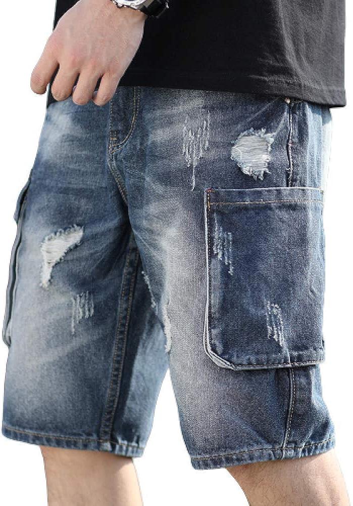 brandless Men's Jeans Summer Holes Denim Shorts Straight Solid Color Large Size Pockets