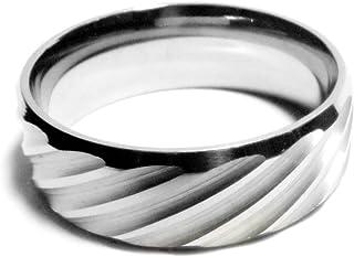 纯 Ziva 金属银灰色波形切割戒指,阳极氧化 316L 不锈钢