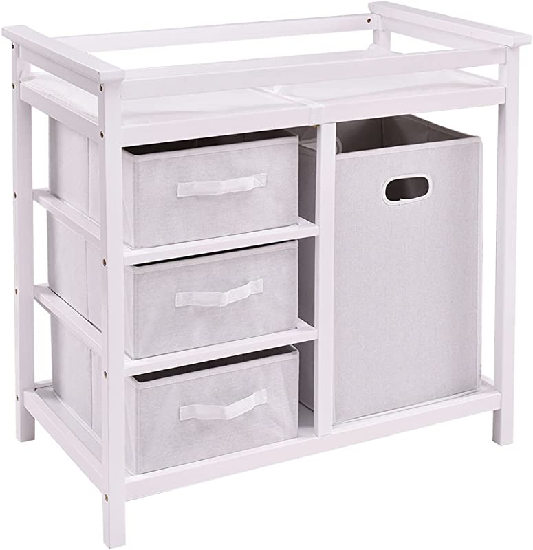 LHONE Infant Baby Changing Table With 3 Baskets Hamper Diaper Storage Nursery Station White