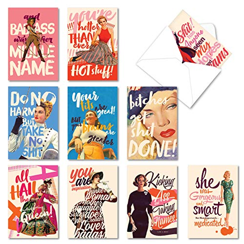 NobleWorks, 10 Blank Funny Cards Boxed - Assortment of All Occasion Notecards with Envelopes - O+D Power Girls AC6682OCB-B1x10