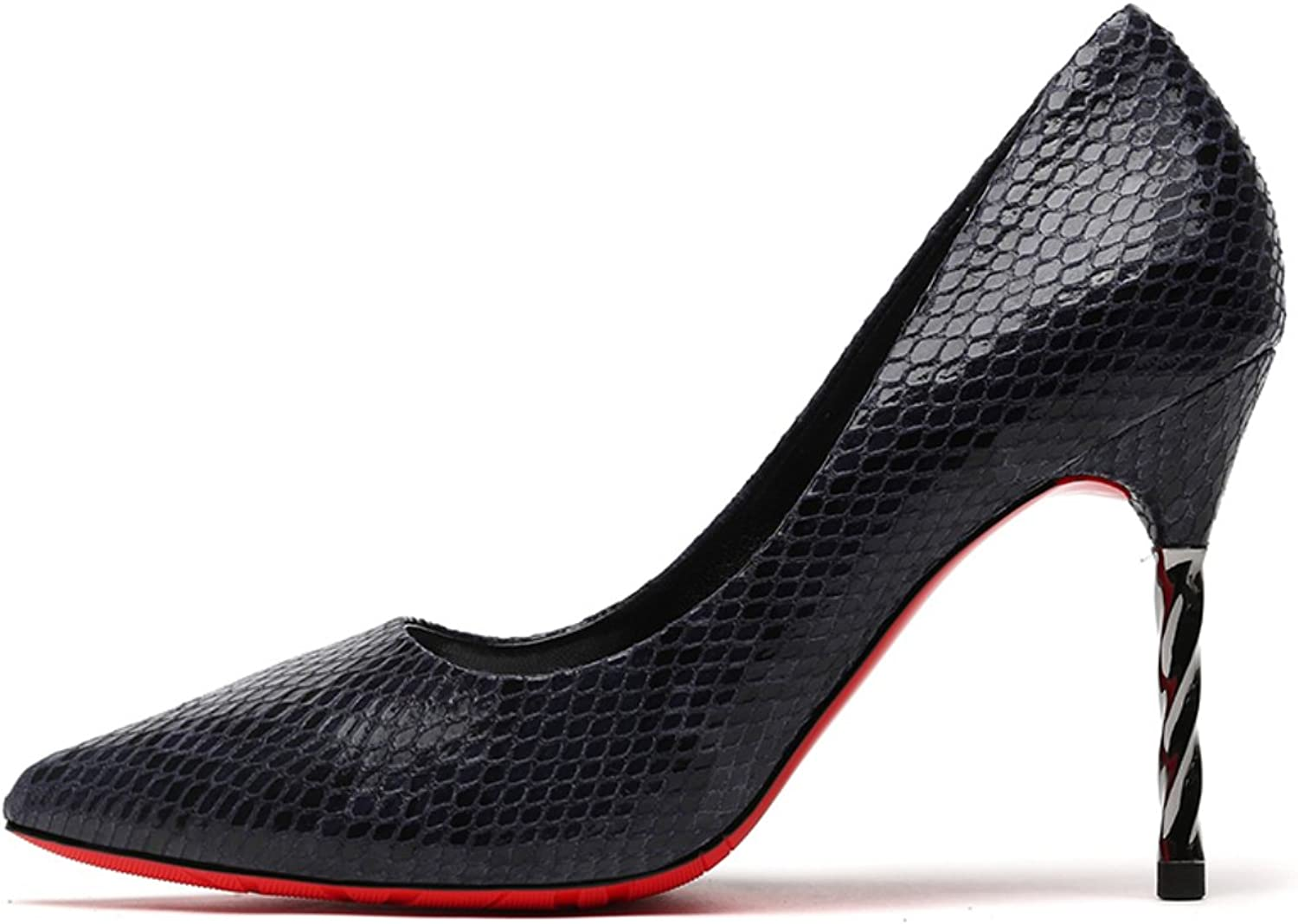 Lusam feeling Sexy Snakeskin Pointed Toe Low Cut OL Work shoes High Stiletto Heel Slip on Pumps