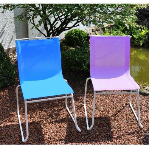 Gartenstuhl / Stapelstuhl Colorline Stahl weiß / Textil aqua