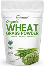 Sustainably US Grown, Organic Wheat Grass Powder, 8 Ounce (75 Serving), Rich in Fibers, Chlorophyll, Fatty Acids and Minerals, No GMOs and Vegan Friendly