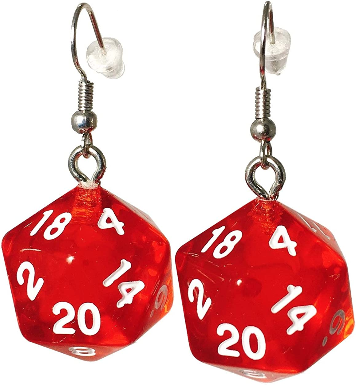 d20 Dice Earrings (Many Colors Available) (Red)