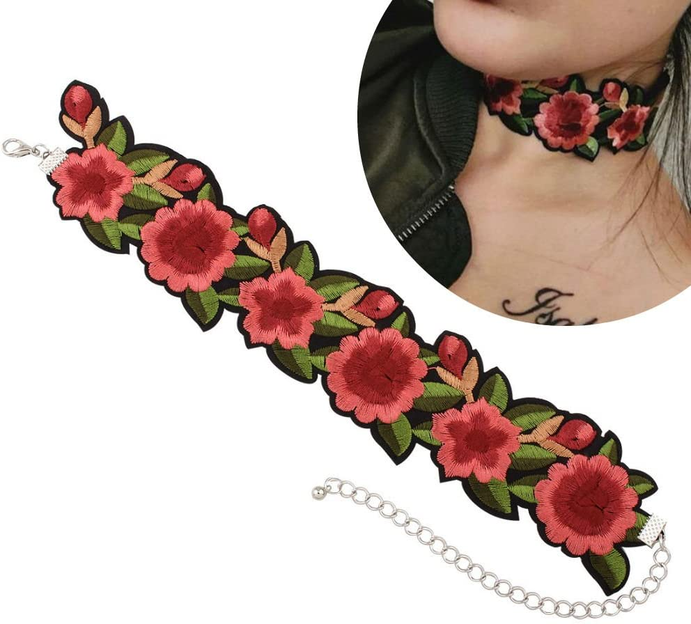 Aysekone New Romantic Design Flower and Leaf Embroidery Chokers Necklaces Tattoo Green Red Rose Beautiful Ribbon Choker