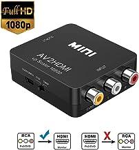 RCA a HDMI, Neefeaer 1080P Mini AV a HDMI Vídeo Audio Adaptador Convertidor Soporte 1080P 720P PAL/NTSC con Cable de Carga USB para Xbox PS4 PS3 TV STB VHS VCR Cámara DVD