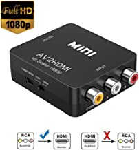 RCA a HDMI, Neefeaer 1080P Mini RCA Composite CVBS AV a HDMI Video Audio Converter para soportar PAL/NTSC con Cable de Carga USB para PC Laptop Xbox PS4 TV VHS VCR DVD Cámara Proyector