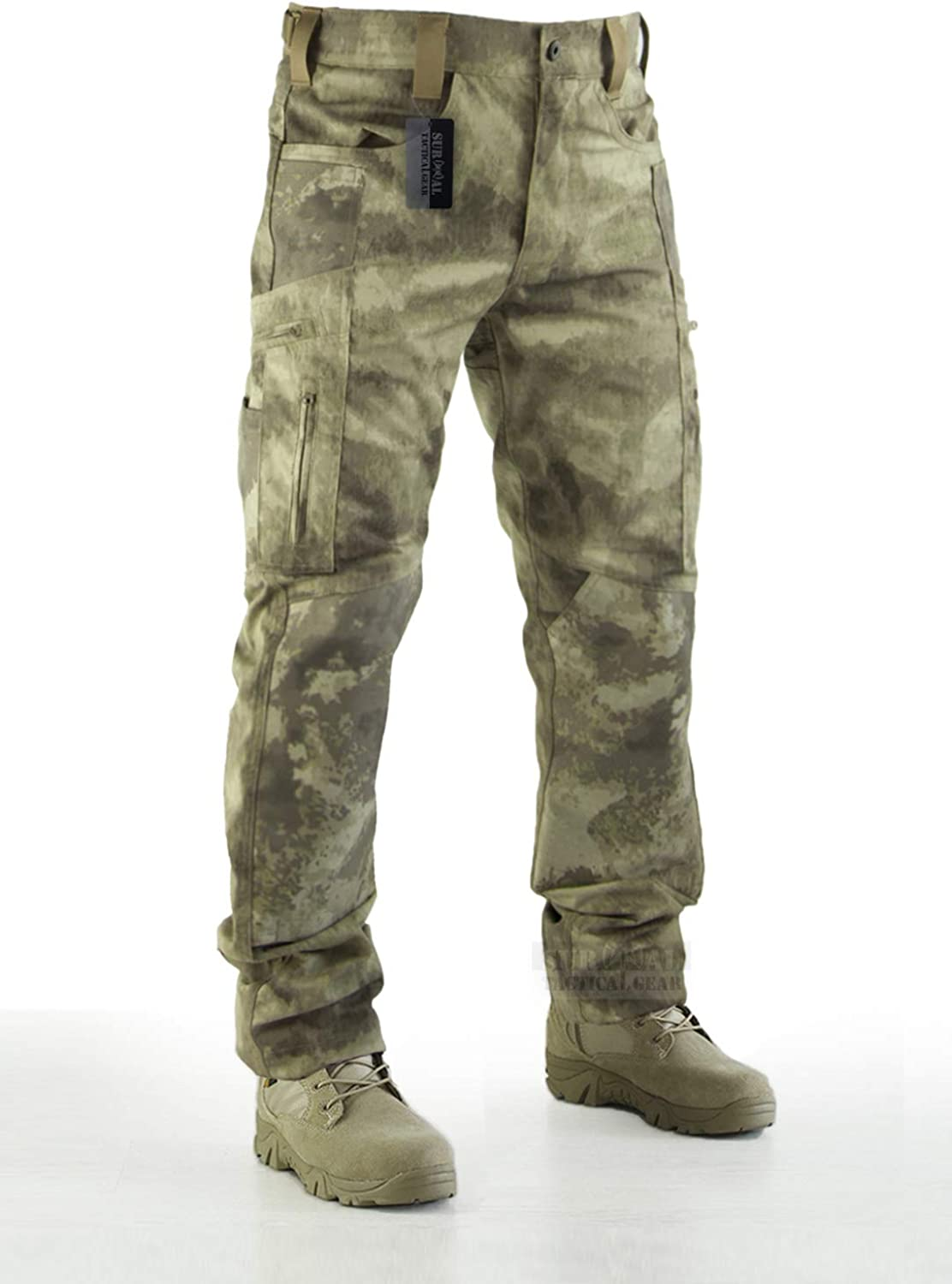 BIYLACLESEN Mens Outdoor Ripstop Military Pants Multi Pockets Lightweight Quick Dry Cargo Hiking Camping Pants