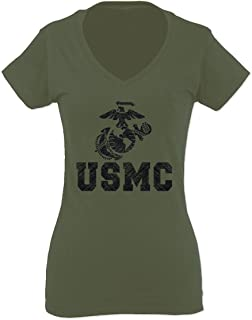 USMC Marine Corps Big Logo Black Seal United States of America USA American for Women V Neck Fitted T Shirt
