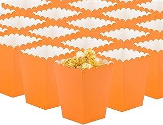 GAKA Orange Open-Top Popcorn Box Set of 36 Popcorn Favor Boxes Cardboard Candy Container Parties Mini Paper Popcorn Contai...