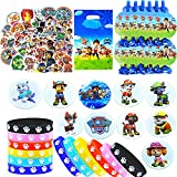 144Pcs Paw Patrol Birthday Party Favors Supplies Paw Patrol Theme Pinata Party Gift Including 12 Blow Horns 12 Dog Paw Print Bracelets 10 button pins 10 Gift bag 100 stickers