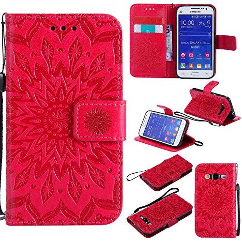 pinlu® Flip Funda de Cuero para Samsung Galaxy Core Prime G360 Carcasa con Función de Stent y Ranuras con Patrón de Girasol Cover (Rojo)
