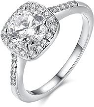 Weishu Diamond mat Halo Europe and America Wedding Ring Engagement Ring Jewelry 10K White Gold (US Code 6)