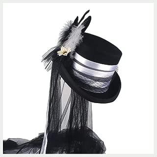 HaiNing Zheng 100% Wool Women Steampunk Wedding Top Hat Off White Ivory Hat Lady Rhinestone Gala Hat Wedding Feather Top Hat Tea Party Hat