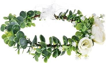 Floral Fall Succulent Flower Crown Green Leaf Headpiece Wedding Bridal Eucalyptus Halo Maternity Photo Props FL-01