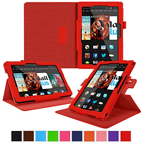 roocase Kindle Fire HDX 8.9 Tablet (2014) Case, new Kindle Fire HDX 8.9 Dual View Folio Case Cover, Red