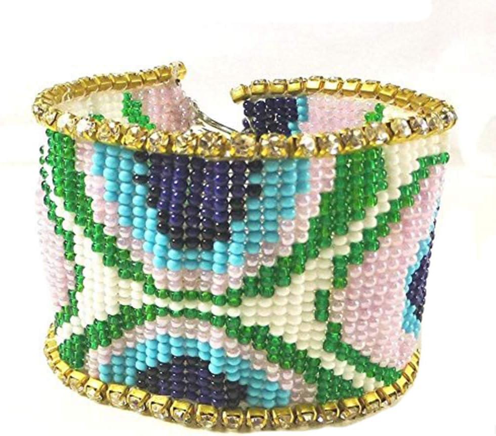 Viva Handmade Beaded Peacock Feather Native American Style Cuff Bracelet B-14017