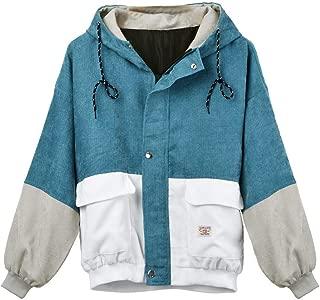 Women's Color Blocking Patchwork Coat Overcoat Long Sleeve Pockets Corduroy Hooded Windbreaker