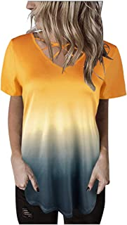 Top for Women Fashion 2020 Short Sleeve Gradient Knot Shirts Front Cross Tunic Loose Blouse Tops